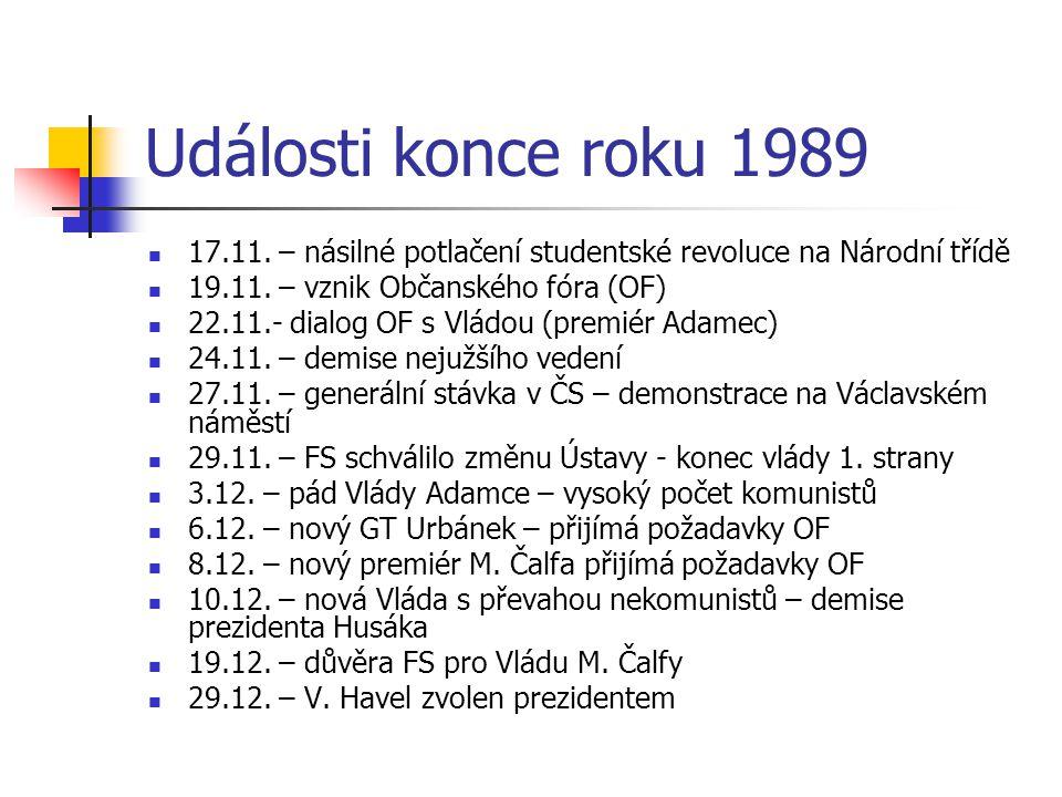 Události konce roku 1989 17.11. – násilné potlačení studentské revoluce na Národní třídě. 19.11. – vznik Občanského fóra (OF)