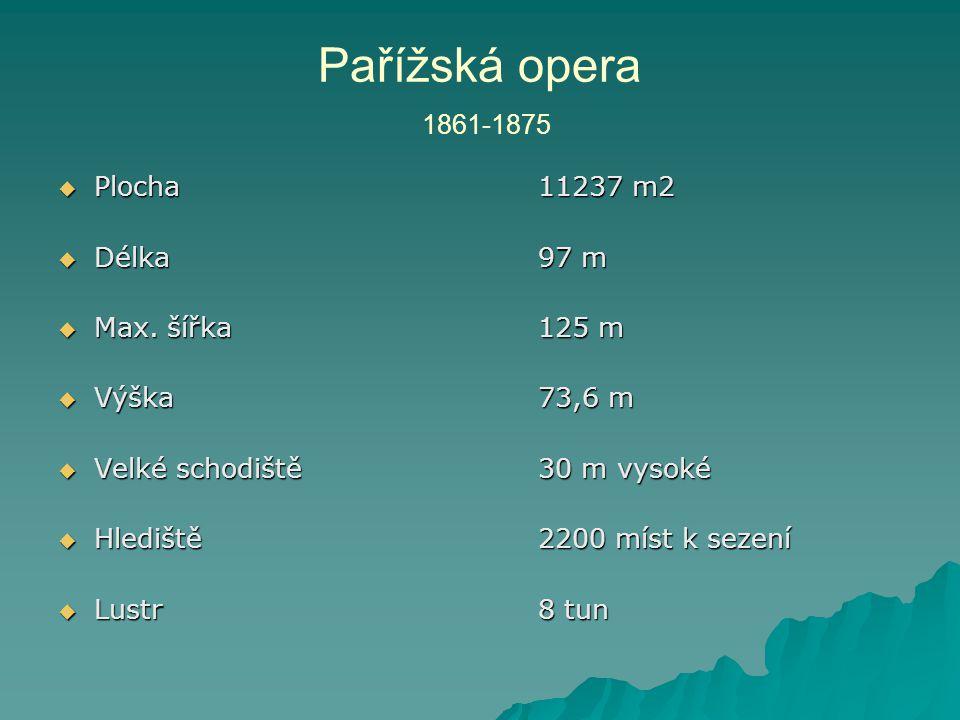 Pařížská opera 1861-1875 Plocha 11237 m2 Délka 97 m Max. šířka 125 m