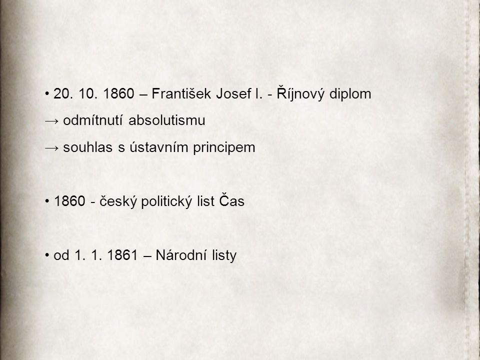 20. 10. 1860 – František Josef I. - Říjnový diplom