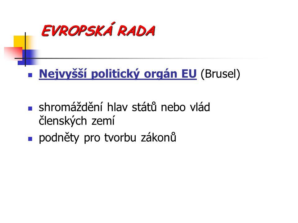 EVROPSKÁ RADA Nejvyšší politický orgán EU (Brusel)