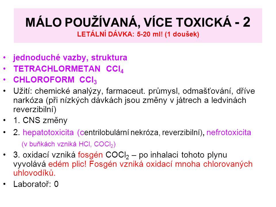 MÁLO POUŽÍVANÁ, VÍCE TOXICKÁ - 2 LETÁLNÍ DÁVKA: 5-20 ml! (1 doušek)