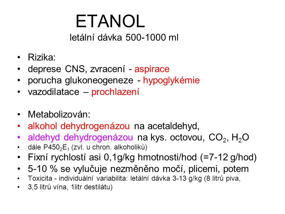 ETANOL letální dávka 500-1000 ml