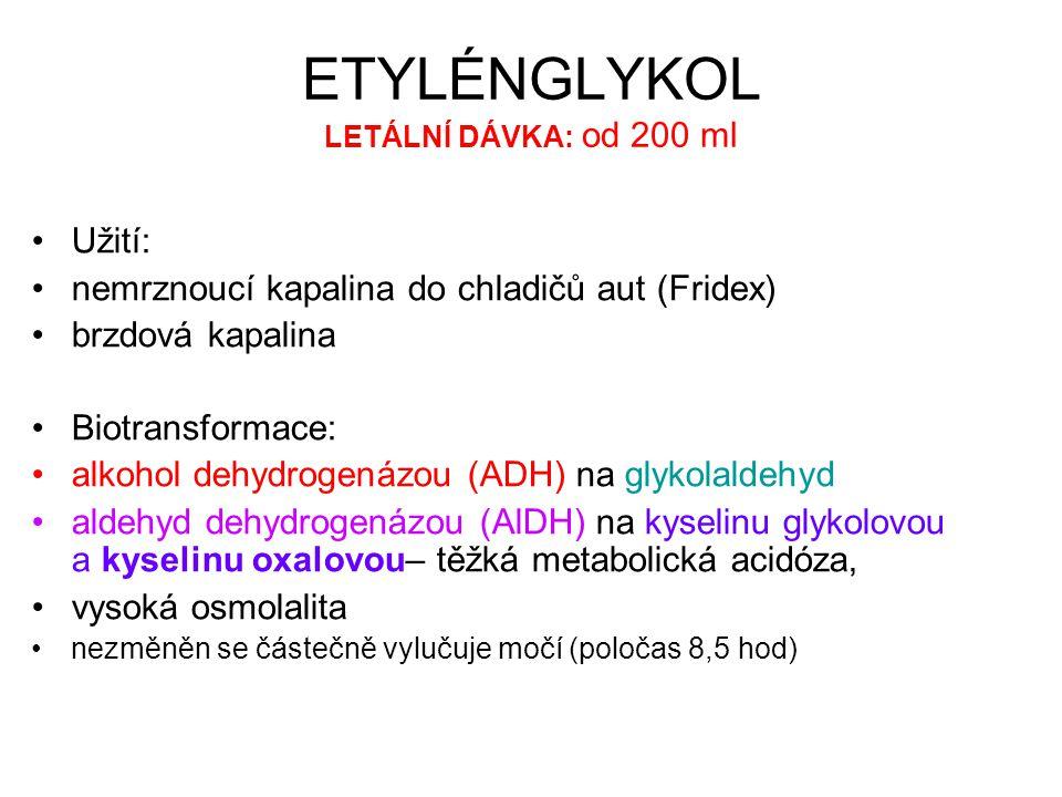 ETYLÉNGLYKOL LETÁLNÍ DÁVKA: od 200 ml