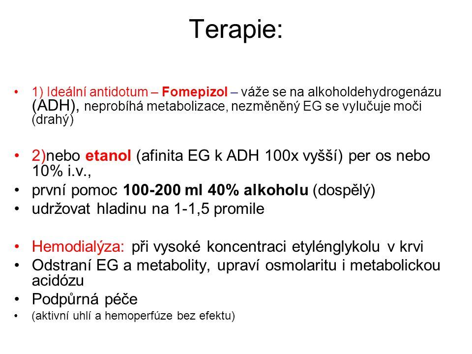 Terapie: 1) Ideální antidotum – Fomepizol – váže se na alkoholdehydrogenázu (ADH), neprobíhá metabolizace, nezměněný EG se vylučuje moči (drahý)