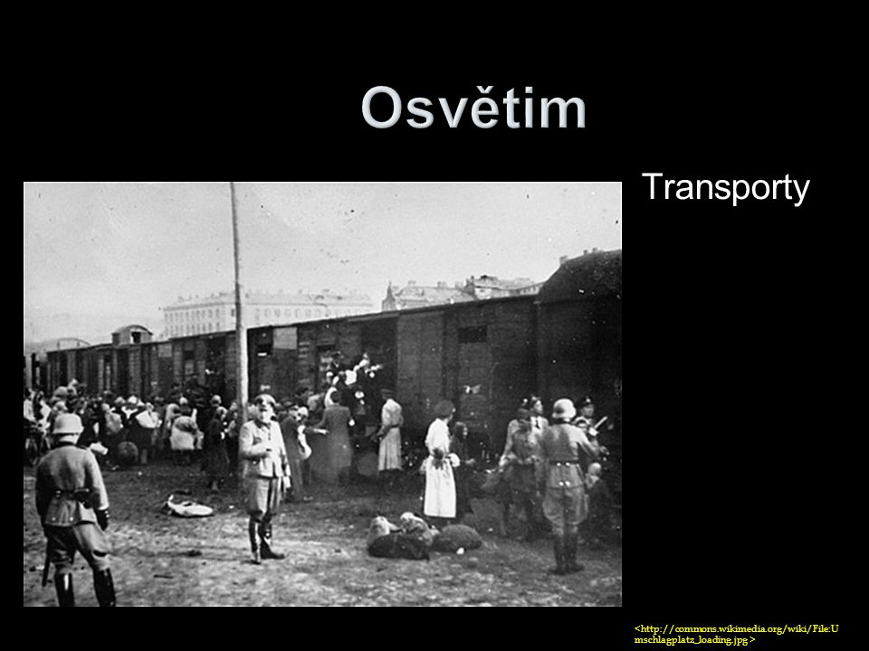 Osvětim Transporty <http://commons.wikimedia.org/wiki/File:Umschlagplatz_loading.jpg >