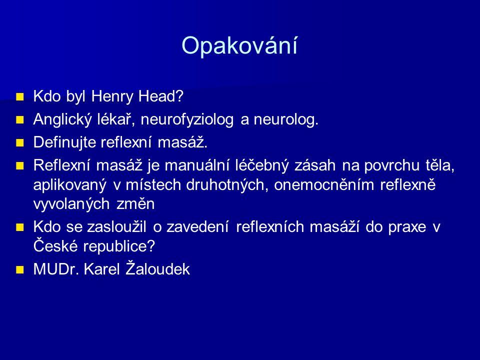 Opakování Kdo byl Henry Head