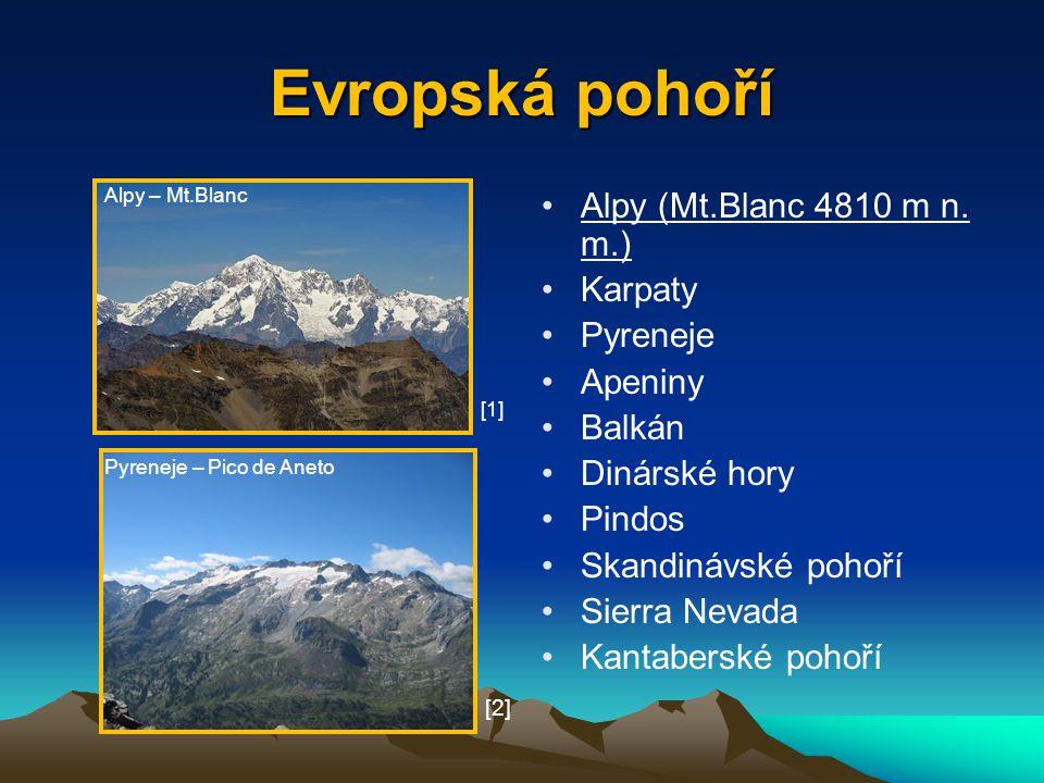 Evropská pohoří Alpy (Mt.Blanc 4810 m n. m.) Karpaty Pyreneje Apeniny