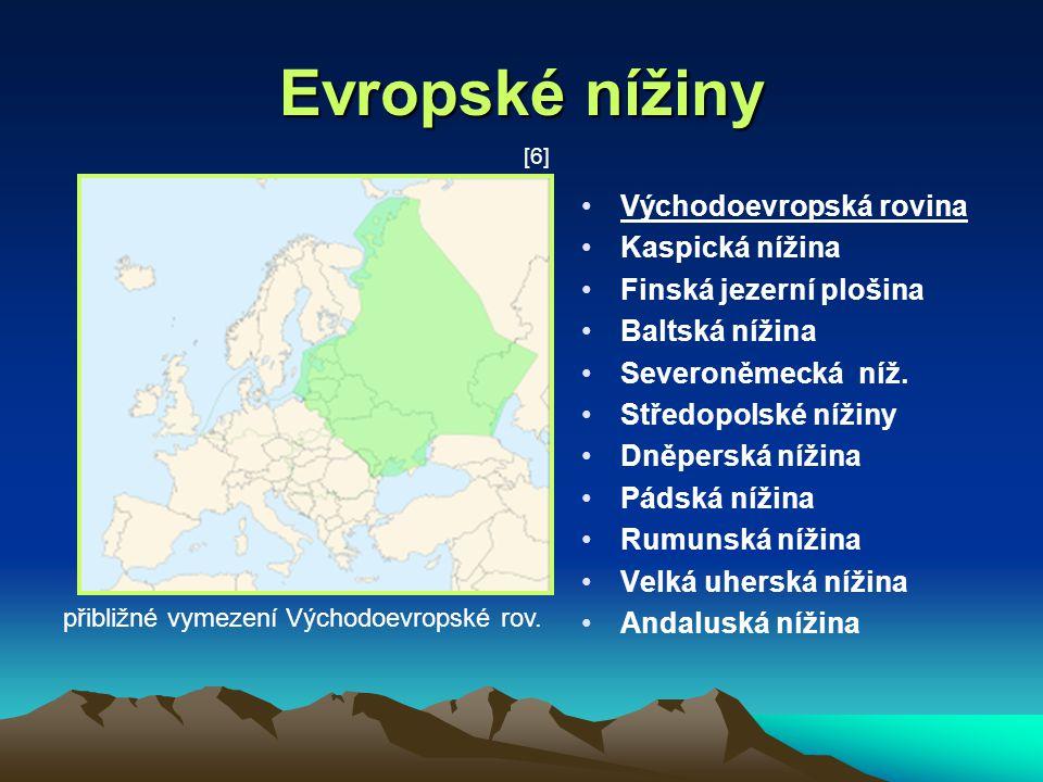 Evropské nížiny Východoevropská rovina Kaspická nížina
