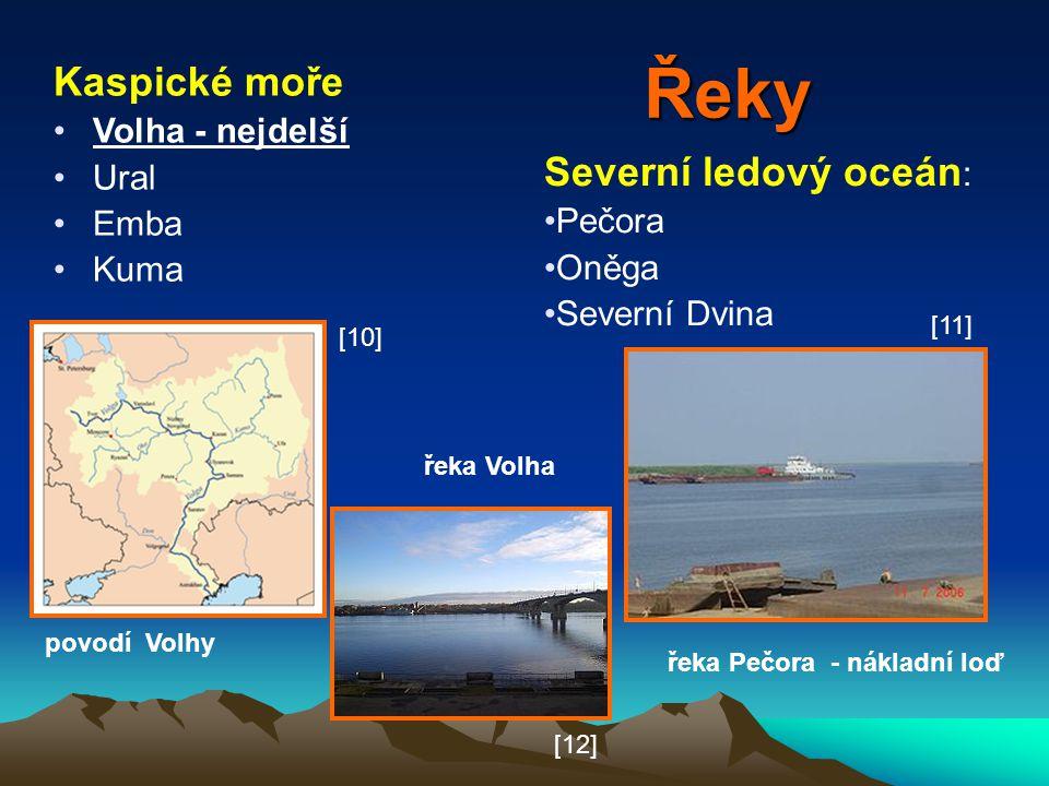 Řeky Kaspické moře Severní ledový oceán: Volha - nejdelší Ural Emba