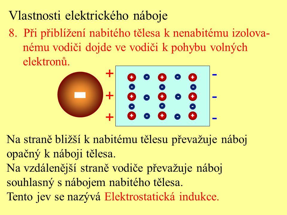 - + - + - + - Vlastnosti elektrického náboje