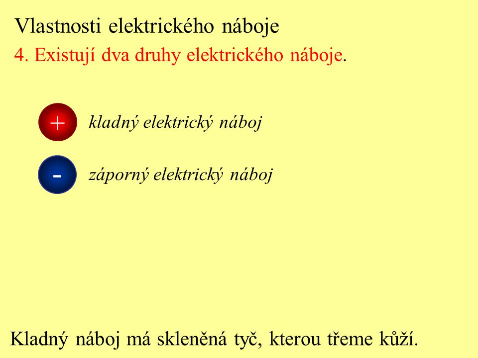 - + Vlastnosti elektrického náboje