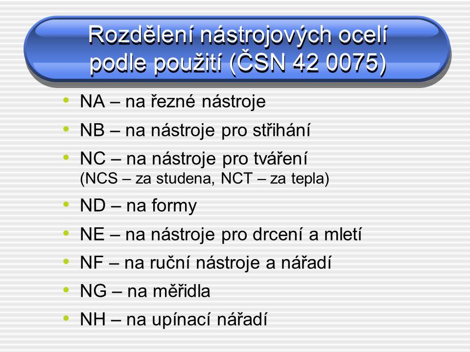 Rozdělení nástrojových ocelí podle použití (ČSN 42 0075)