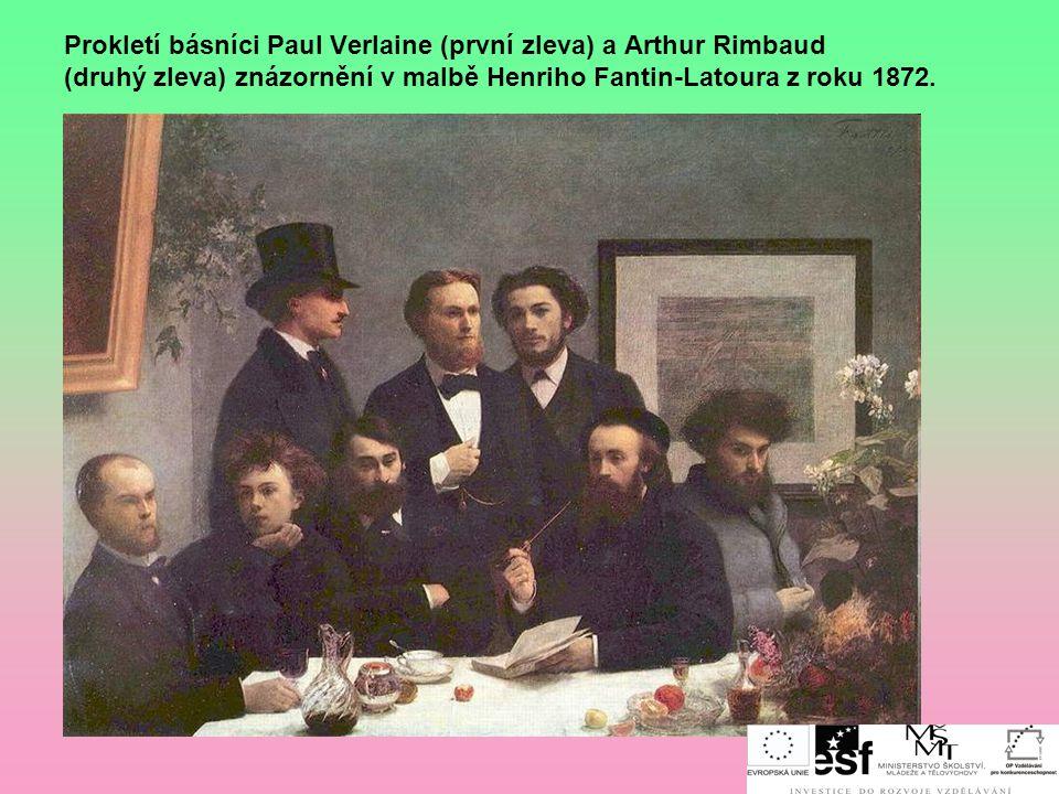 Prokletí básníci Paul Verlaine (první zleva) a Arthur Rimbaud (druhý zleva) znázornění v malbě Henriho Fantin-Latoura z roku 1872.