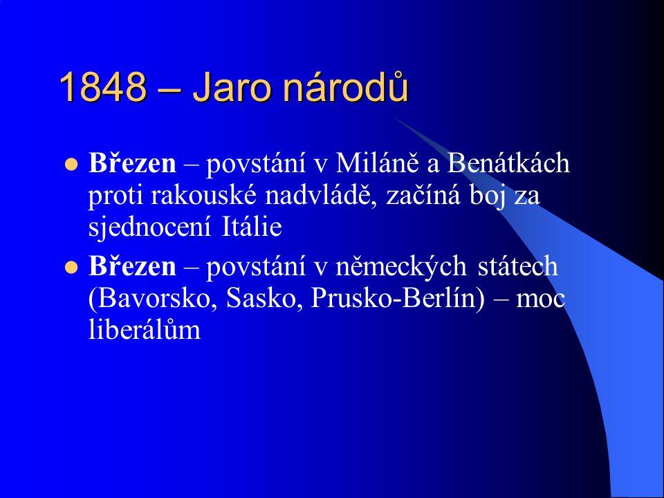1848 – Jaro národů Březen – povstání v Miláně a Benátkách proti rakouské nadvládě, začíná boj za sjednocení Itálie.