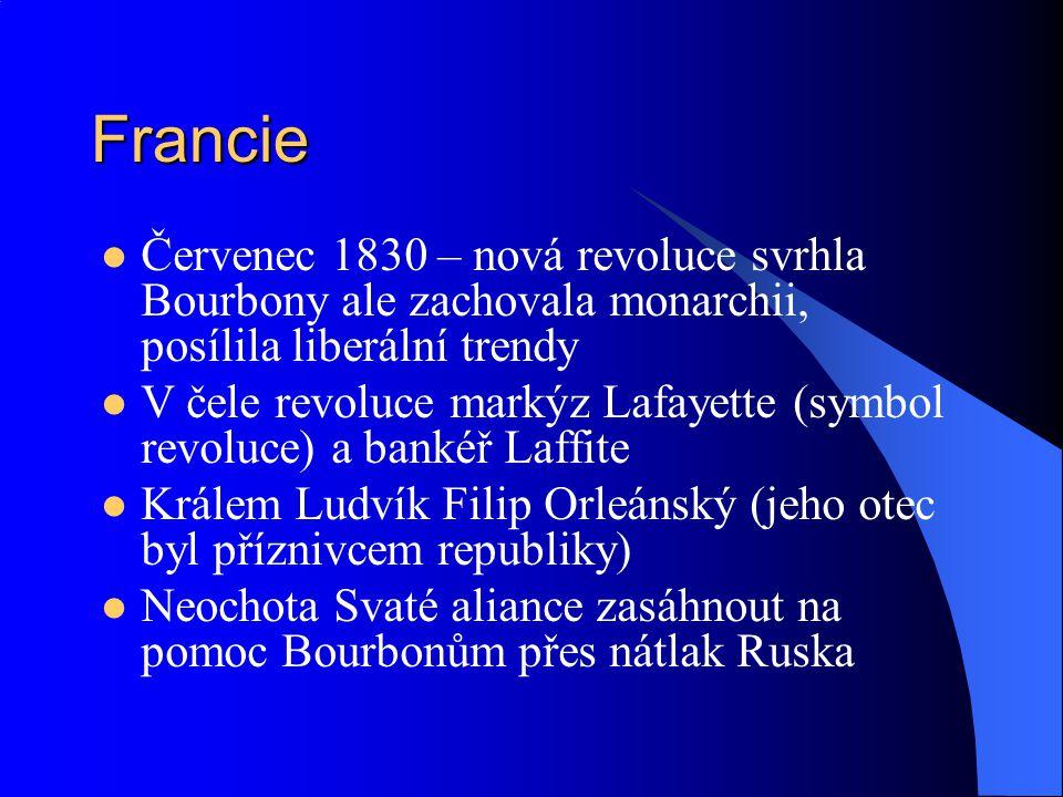 Francie Červenec 1830 – nová revoluce svrhla Bourbony ale zachovala monarchii, posílila liberální trendy.
