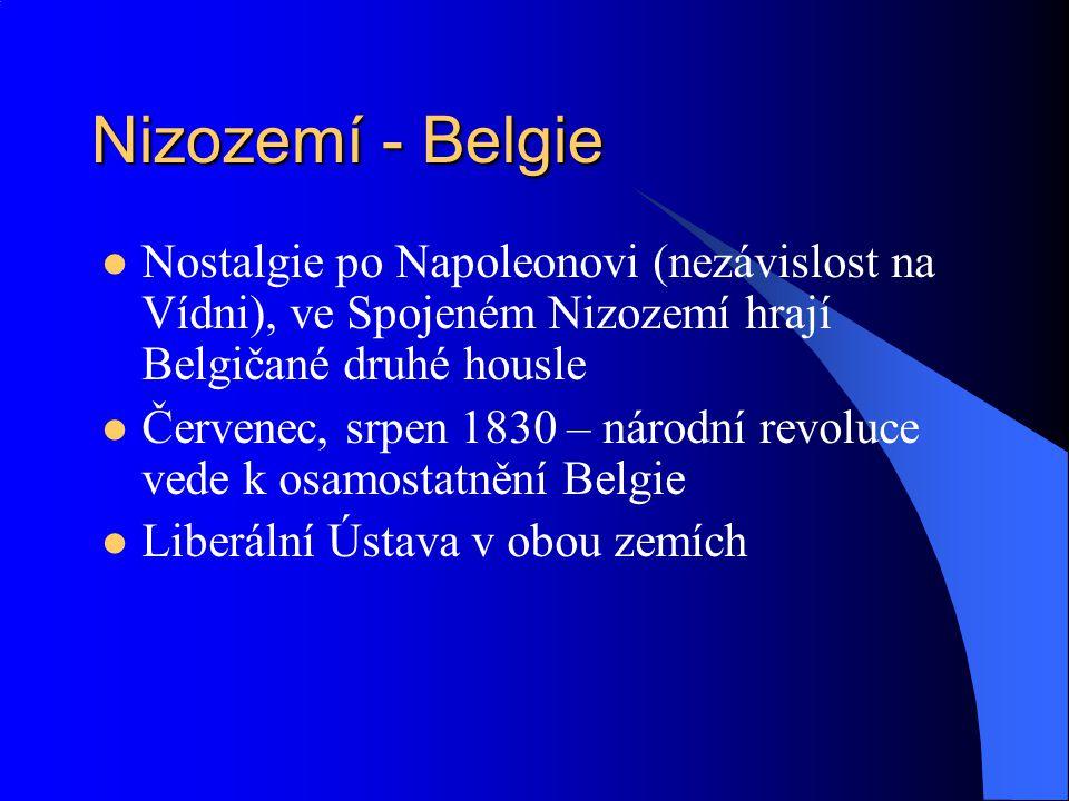 Nizozemí - Belgie Nostalgie po Napoleonovi (nezávislost na Vídni), ve Spojeném Nizozemí hrají Belgičané druhé housle.