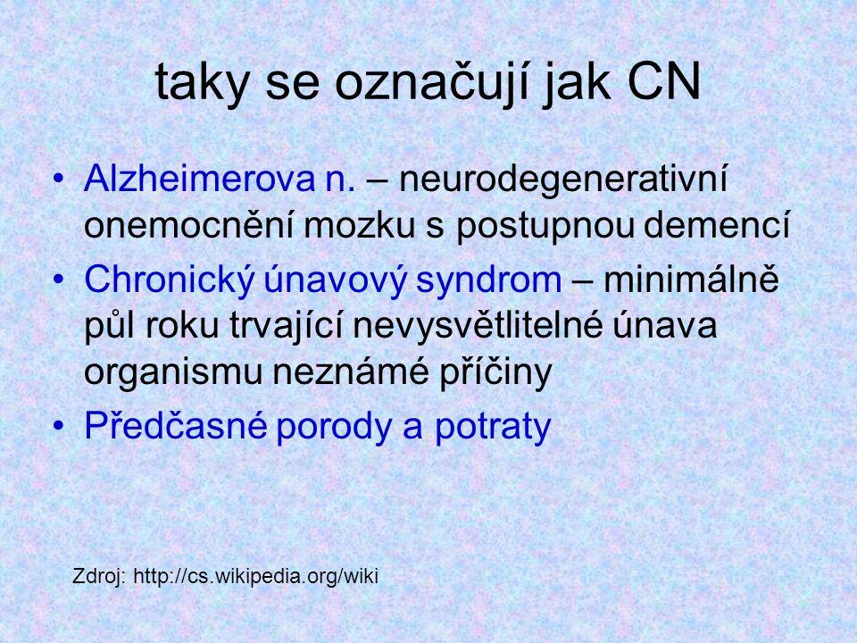 taky se označují jak CN Alzheimerova n. – neurodegenerativní onemocnění mozku s postupnou demencí.