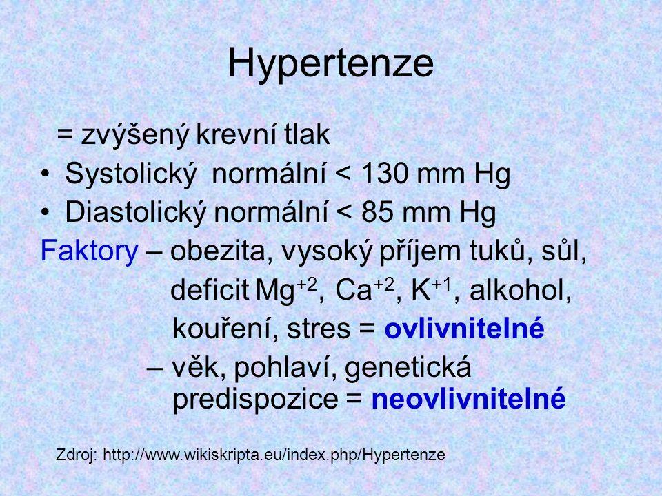 Hypertenze = zvýšený krevní tlak Systolický normální < 130 mm Hg