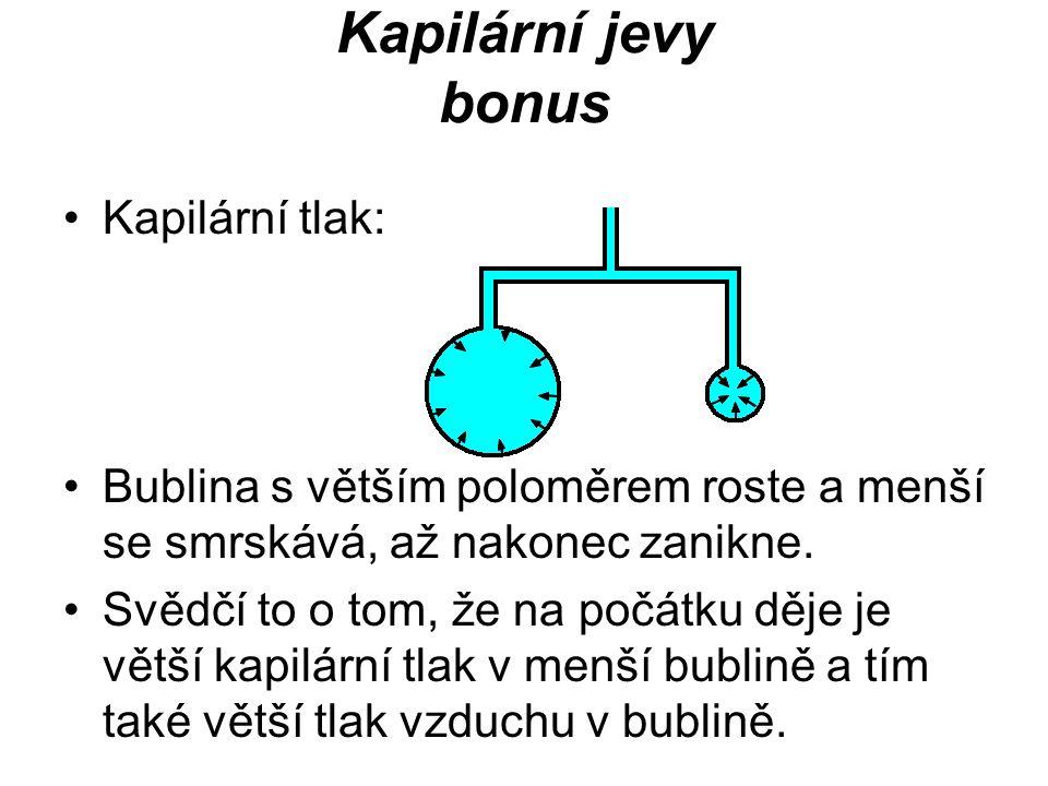 Kapilární jevy bonus Kapilární tlak: