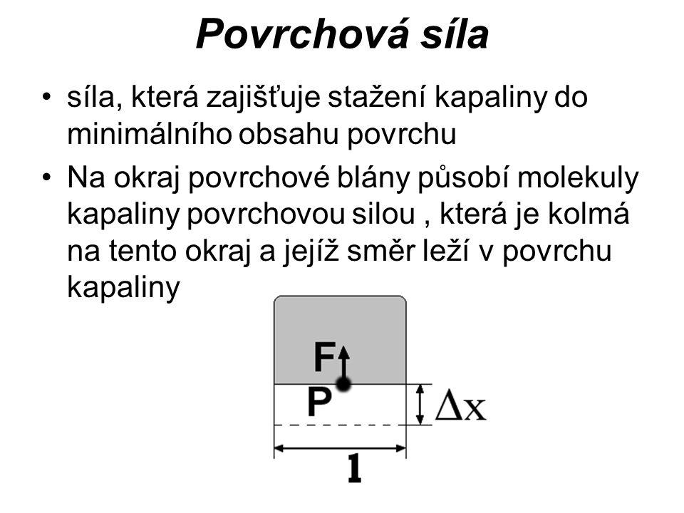 Povrchová síla síla, která zajišťuje stažení kapaliny do minimálního obsahu povrchu.