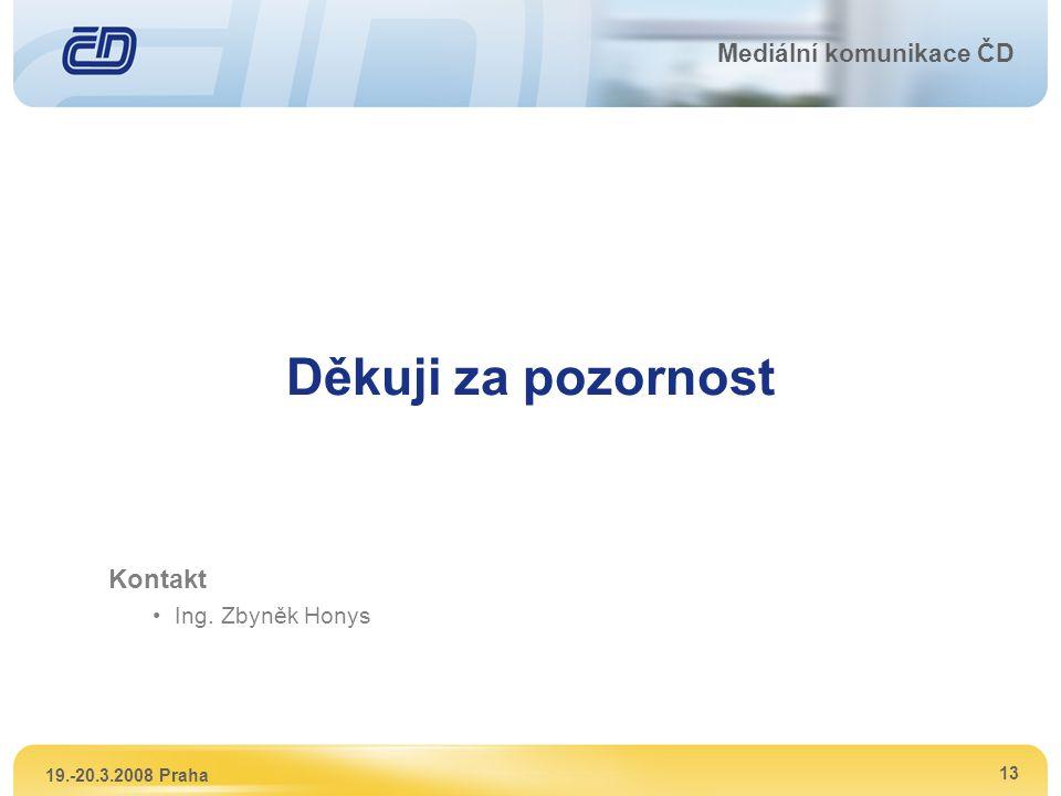 Děkuji za pozornost Kontakt Mediální komunikace ČD Ing. Zbyněk Honys