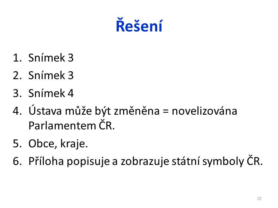 Řešení Snímek 3. Snímek 4. Ústava může být změněna = novelizována Parlamentem ČR.
