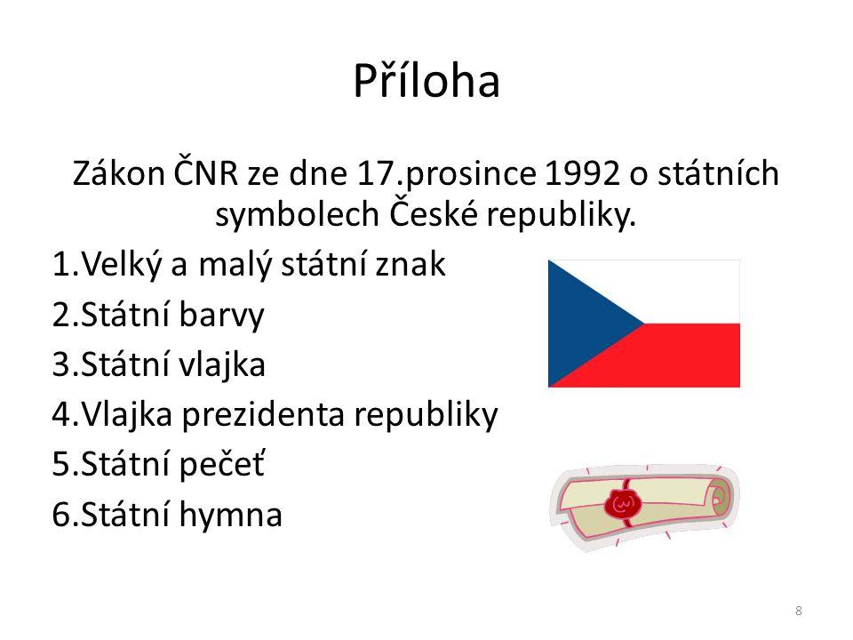 Příloha Zákon ČNR ze dne 17.prosince 1992 o státních symbolech České republiky. Velký a malý státní znak.