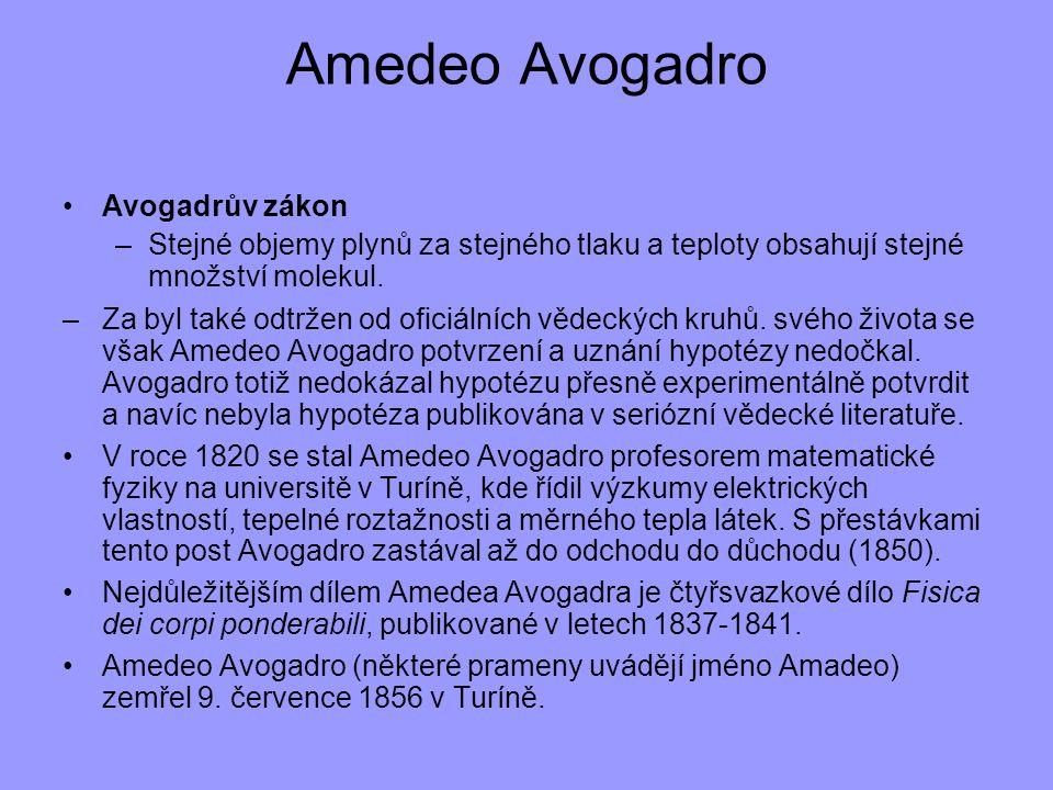Amedeo Avogadro Avogadrův zákon
