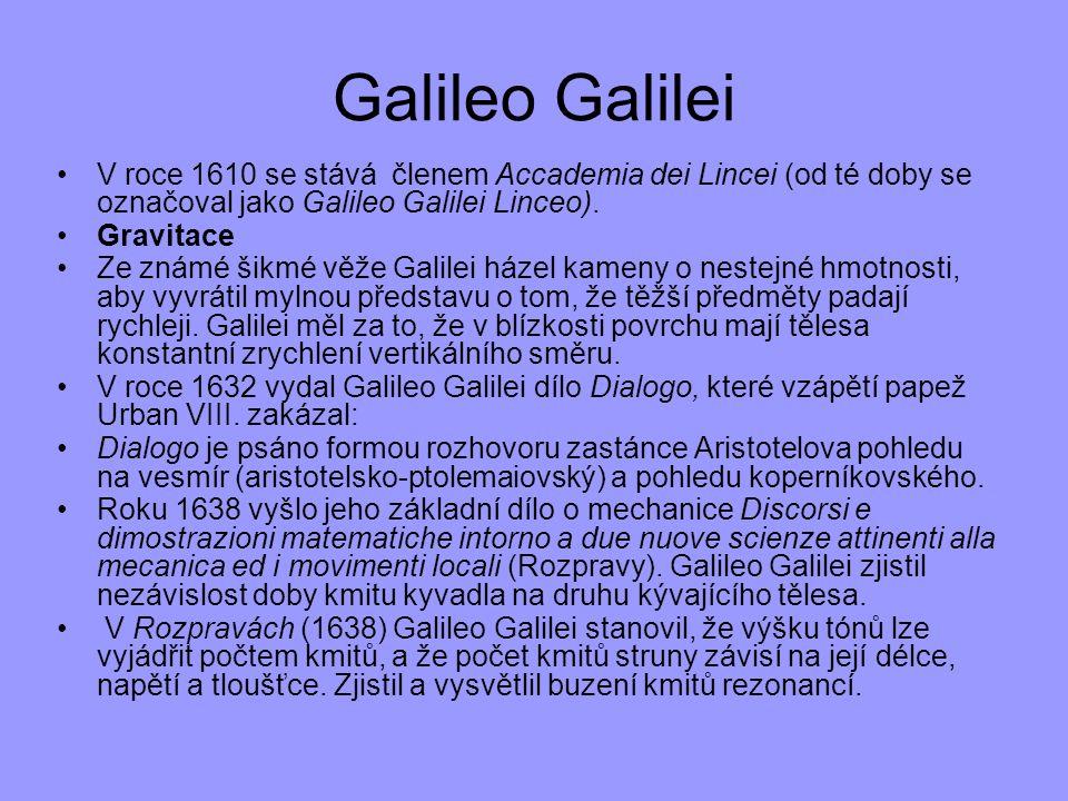 Galileo Galilei V roce 1610 se stává členem Accademia dei Lincei (od té doby se označoval jako Galileo Galilei Linceo).