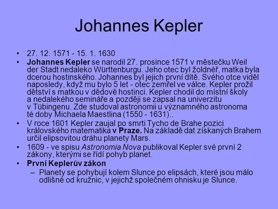 Johannes Kepler 27. 12. 1571 - 15. 1. 1630.