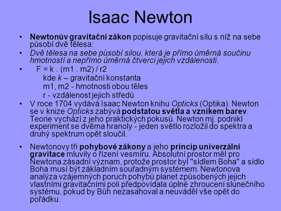 Isaac Newton Newtonův gravitační zákon popisuje gravitační sílu s níž na sebe působí dvě tělesa: