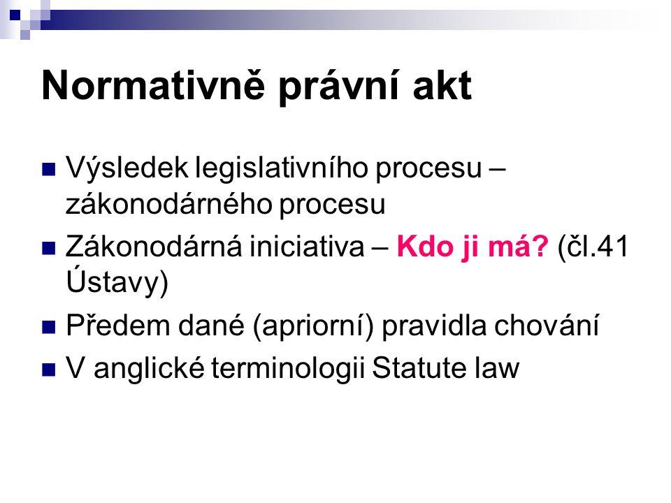 Normativně právní akt Výsledek legislativního procesu – zákonodárného procesu. Zákonodárná iniciativa – Kdo ji má (čl.41 Ústavy)