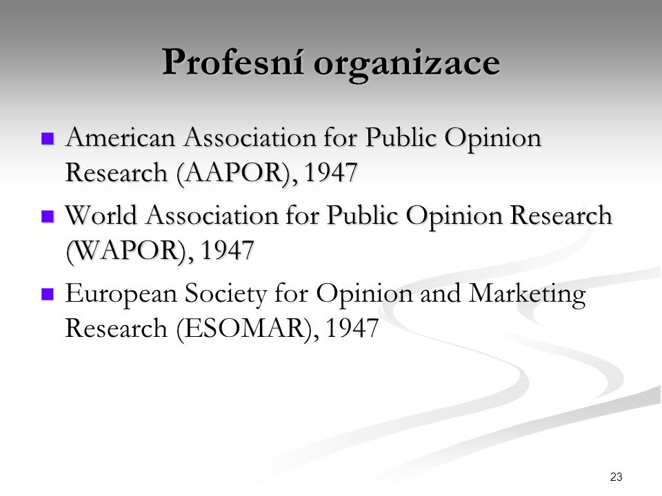Profesní organizace American Association for Public Opinion Research (AAPOR), 1947. World Association for Public Opinion Research (WAPOR), 1947.