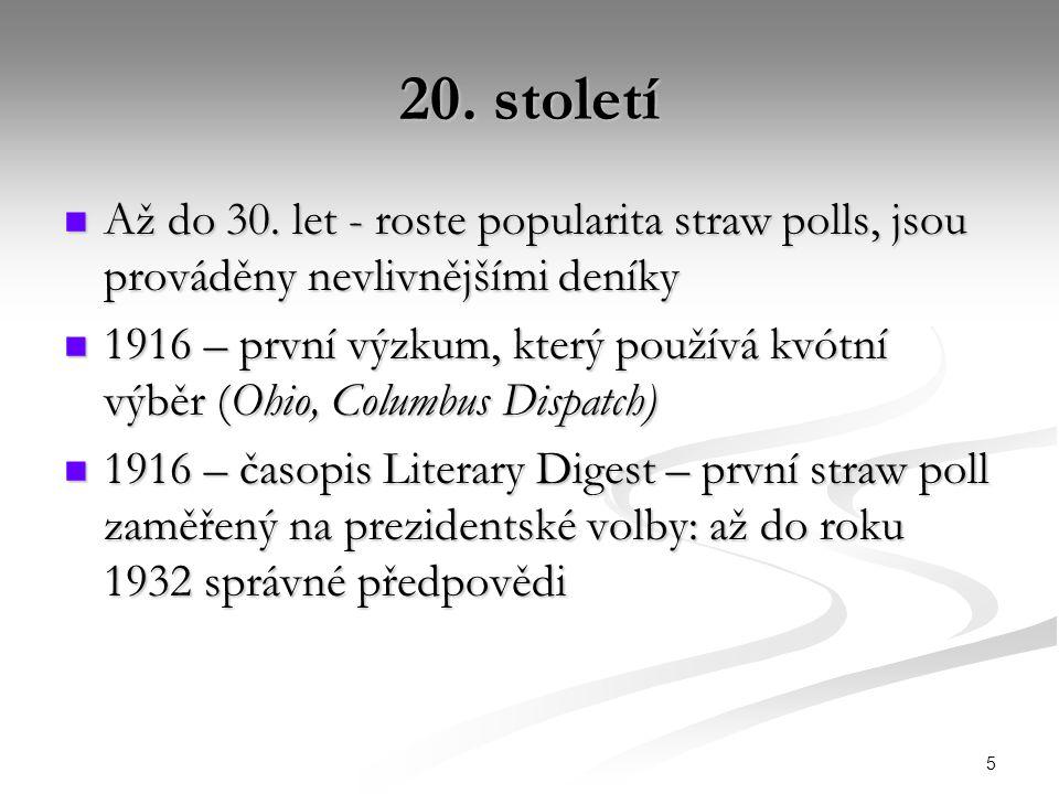 20. století Až do 30. let - roste popularita straw polls, jsou prováděny nevlivnějšími deníky.