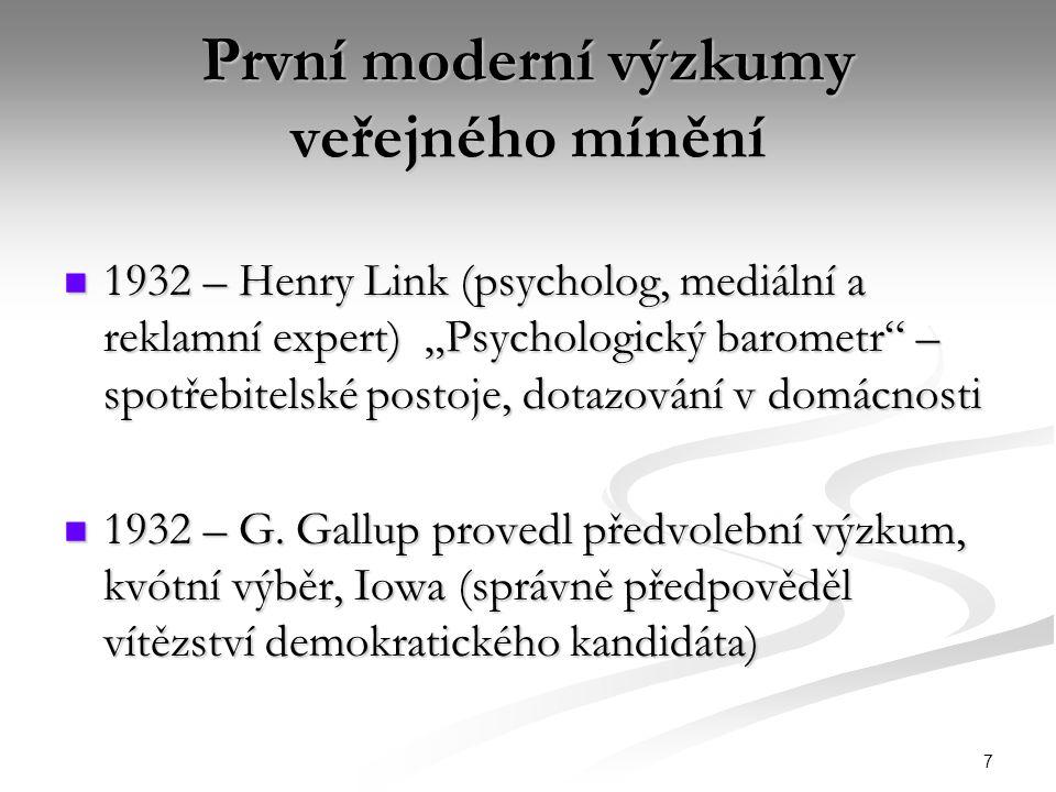 První moderní výzkumy veřejného mínění