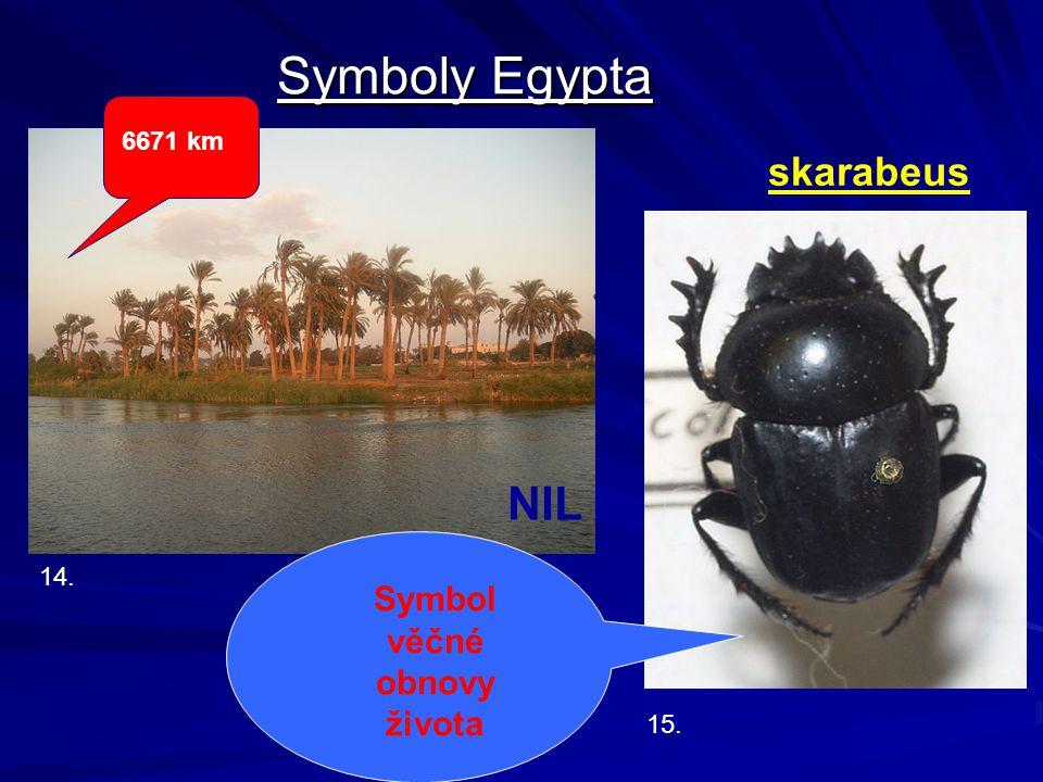 Symboly Egypta NIL skarabeus Symbol věčné obnovy života 6671 km 14.