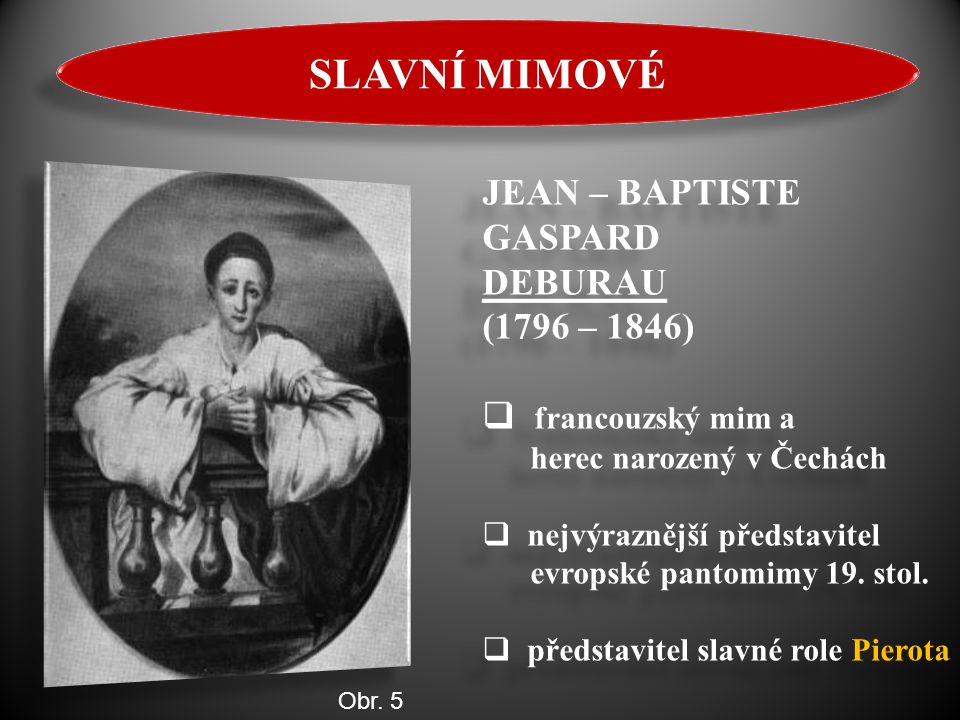 SLAVNÍ MIMOVÉ JEAN – BAPTISTE GASPARD DEBURAU (1796 – 1846)