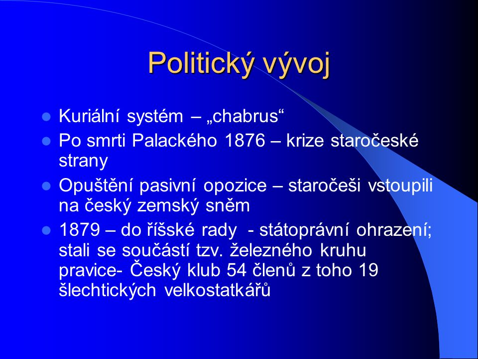 """Politický vývoj Kuriální systém – """"chabrus"""