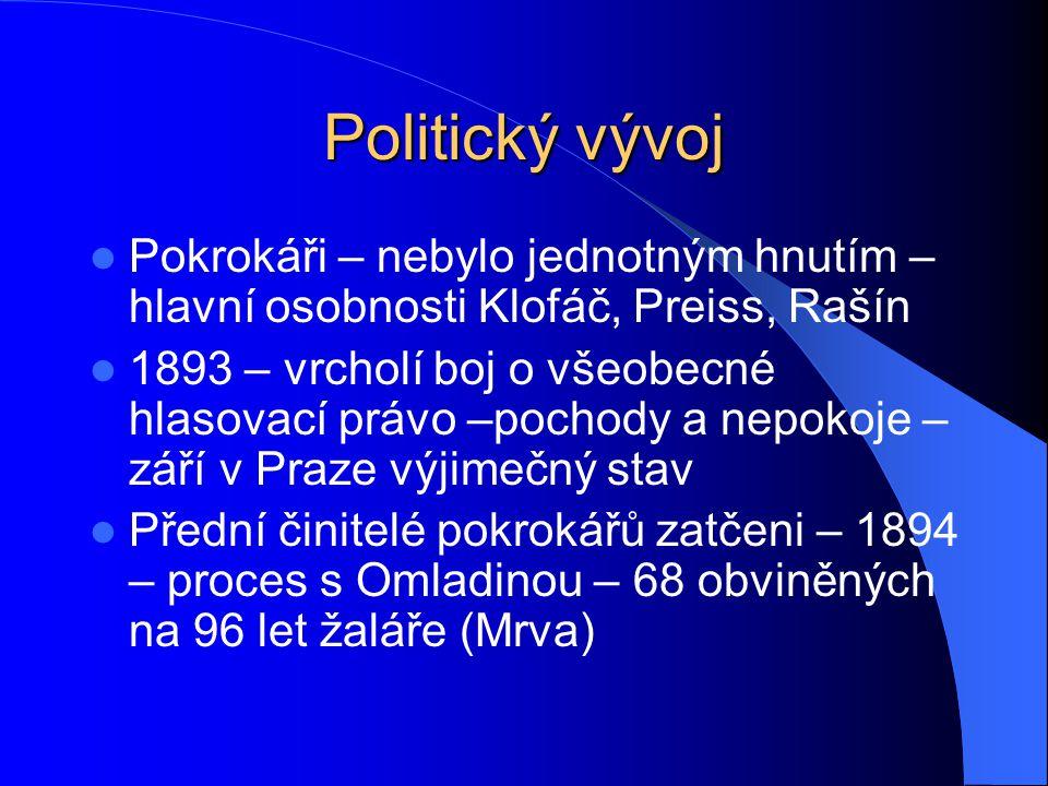 Politický vývoj Pokrokáři – nebylo jednotným hnutím – hlavní osobnosti Klofáč, Preiss, Rašín.