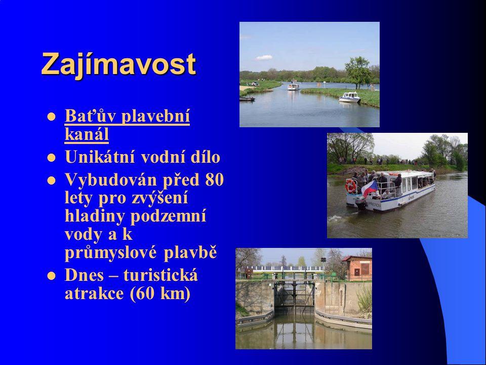 Zajímavost Baťův plavební kanál Unikátní vodní dílo