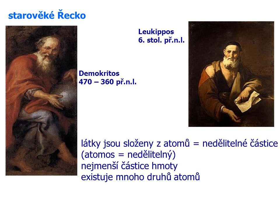 látky jsou složeny z atomů = nedělitelné částice