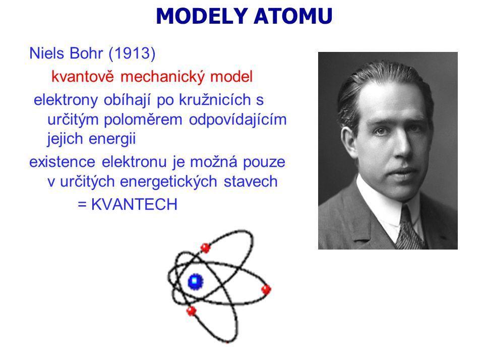MODELY ATOMU Niels Bohr (1913) kvantově mechanický model