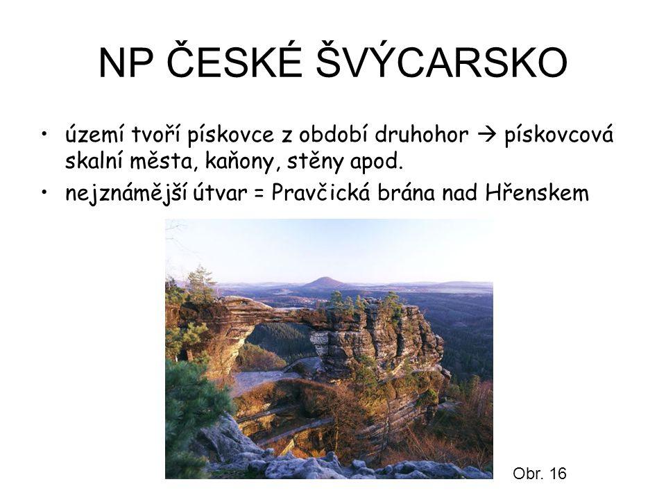 NP ČESKÉ ŠVÝCARSKO území tvoří pískovce z období druhohor  pískovcová skalní města, kaňony, stěny apod.