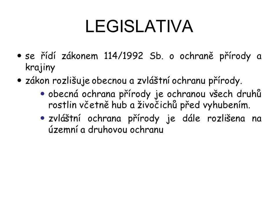 LEGISLATIVA se řídí zákonem 114/1992 Sb. o ochraně přírody a krajiny