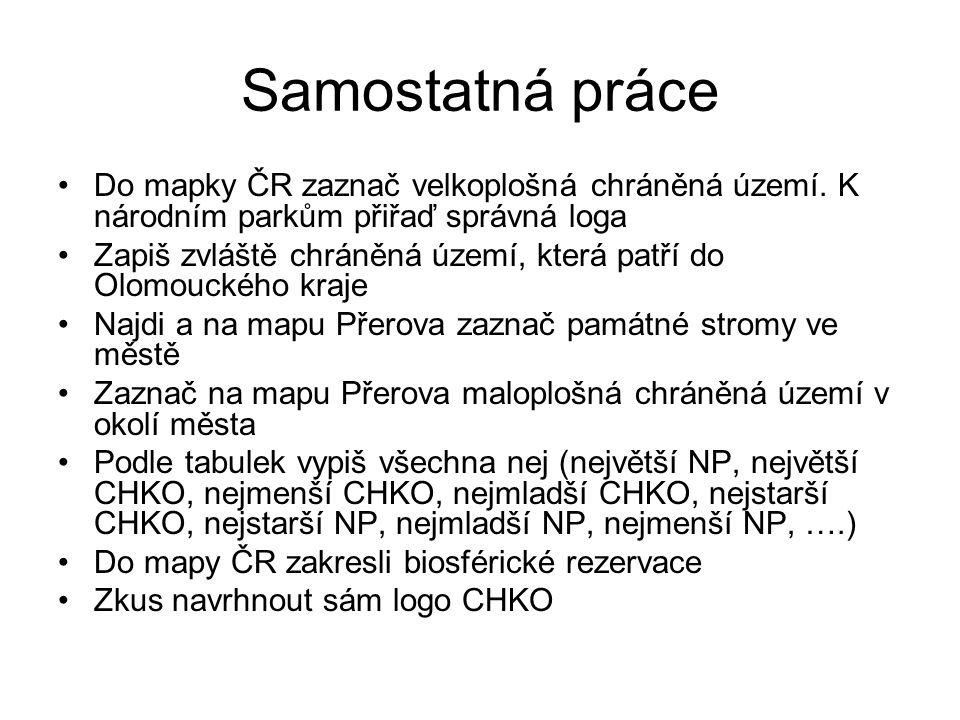 Samostatná práce Do mapky ČR zaznač velkoplošná chráněná území. K národním parkům přiřaď správná loga.