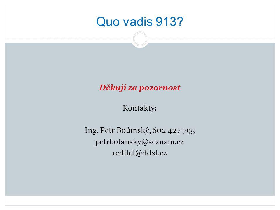 Quo vadis 913. Děkuji za pozornost Kontakty: Ing.