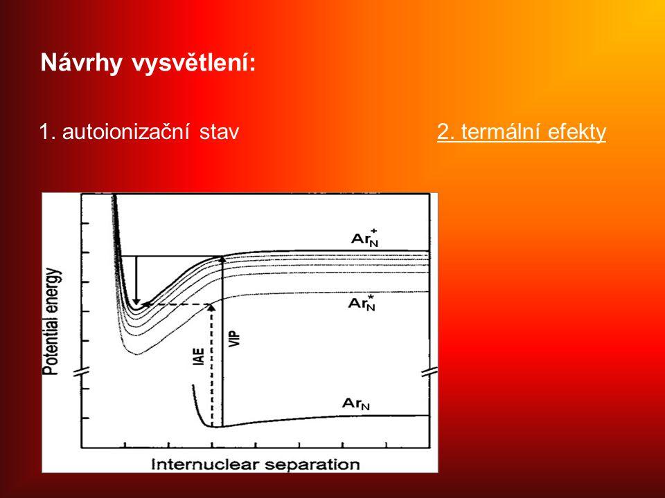 Návrhy vysvětlení: 1. autoionizační stav 2. termální efekty