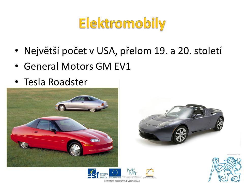 Elektromobily Největší počet v USA, přelom 19. a 20. století