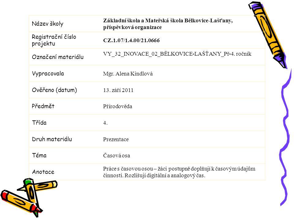Název školy Základní škola a Mateřská škola Bělkovice-Lašťany, příspěvková organizace. Registrační číslo projektu.