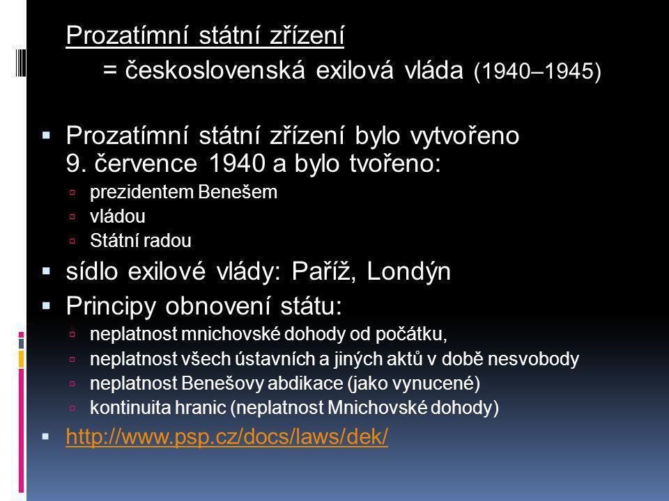 Prozatímní státní zřízení = československá exilová vláda (1940–1945)